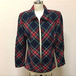 Vintage Halston Petites Lined Plaid Jacket